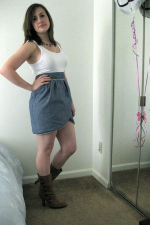 blue Forever 21 dress - brown Dan Eldeman boots - silver a present accessories