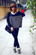 black Twenty eight sweater - brown Vascara boots - black H&M jeans