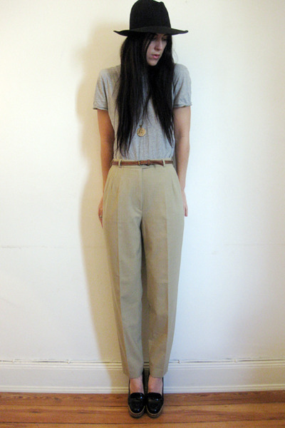 vintage hat - Topshop t-shirt - thrifted pants - Topshop belt - YSL shoes