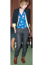vintage blouse - H&M jeans - vintage blazer - vintage sweater - vintage shoes
