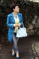 heather gray Orsay jeans - teal Aggresive coat - light blue Orsay bag