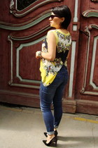 light yellow Presunmall top - blue Orsay jeans - black Deichmann heels