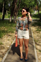 salmon Stradivarius shirt - coral new look bag - ivory Orsay shorts
