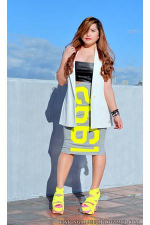 white Zara vest - heather gray Topshop skirt - light yellow DAS heels