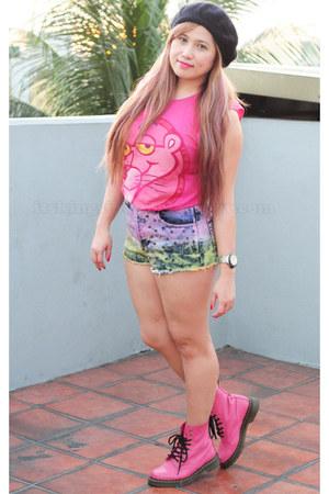 bubble gum Zara top - pink leather doc martens boots