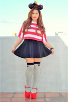 black K by JS skirt - heather gray Forever 21 socks - ruby red suede DAS heels