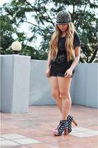black leather Forever 21 shorts - black cotton Penshoppe top