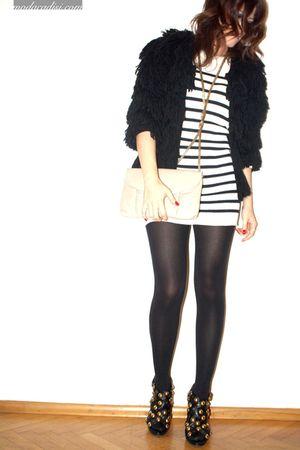 black Topshop coat - white Topshop dress - black Gucci shoes - beige vintage acc