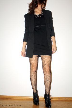 black H&M blazer - black H&M dress - black Topshop stockings - black Kurt Geiger