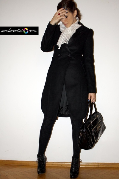 black Topshop coat - gray H&M dress - white Zara blouse - black anya hindmarch f