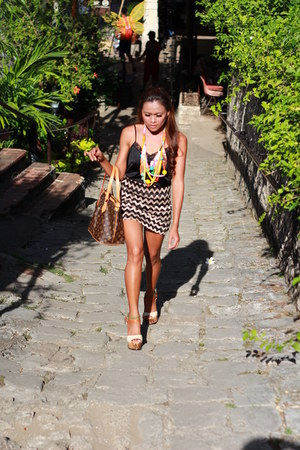 Avatar necklace - Palermo Louis Vetton bag - contract tone Scarlet sandals