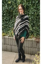 black H&M boots - black jeggings tchibo leggings - green SOliver shirt
