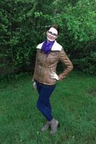 navy JustFab jeans - dark brown leather gypsy jacket
