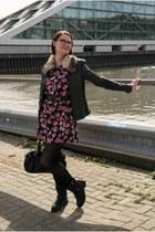 black fake leather Deichmann boots - black H&M dress