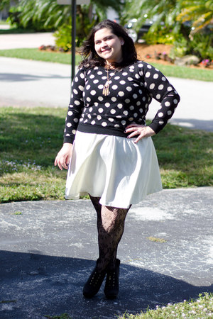 black Payless boots - ivory Armani Exchange dress - black Forever 21 sweater