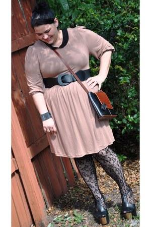 neutral asos dress - black dany platforms Jessica Simpson collection heels