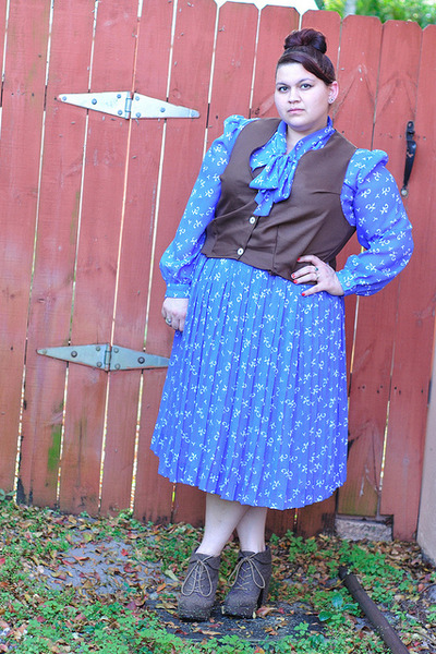 dark brown Self Made vest - dark brown Blowfish Shoes boots - blue vintage dress