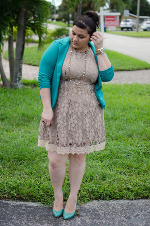turquoise blue blazer American Rag blazer - cream lace dress American Rag dress