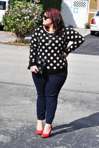 black Forever21 sweater - navy skinny jeans Old Navy jeans