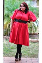 red vintage dress thrifted vintage dress - black black tights Target tights