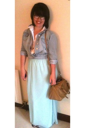 aquamarine Misguided skirt - light blue new look jacket - tan Primark bag