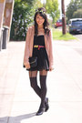 Black-bardot-dress-light-pink-bardot-blazer