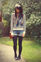 black Forever 21 sweater - vintage scarf - JayJays shorts - black voodoo tights