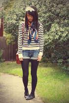black Forever 21 sweater - vintage scarf - JayJays shorts - black voodoo tights