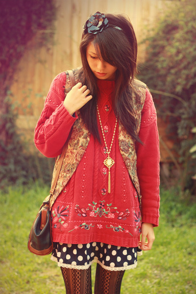 pink vintage sweater - blue vintage dress - brown vintage vest - brown vintage a