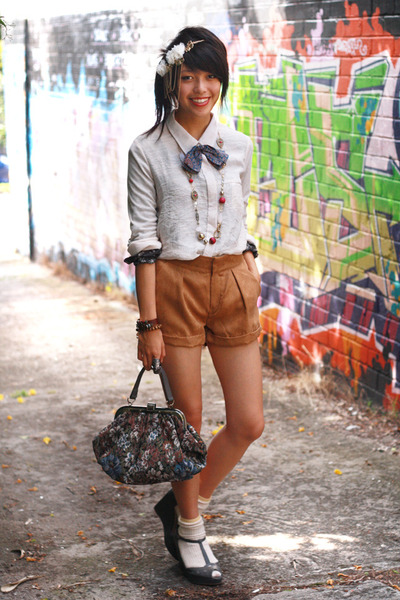 brown bardot shorts