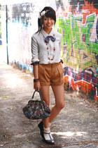 brown bardot shorts