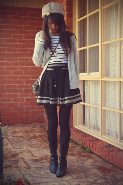 black Forever 21 - black Forever 21 skirt - black candy boots - silver cardigan