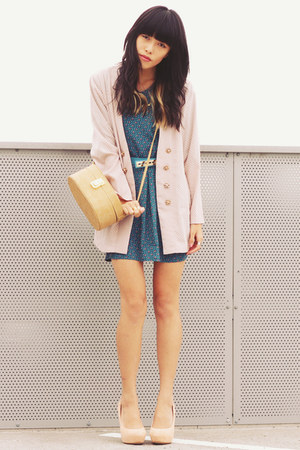 teal vintage dress - light pink vintage blazer - nude asos bag