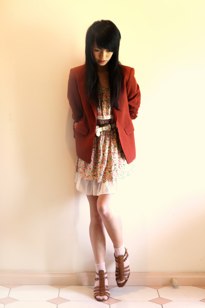 light pink ClubCouture dress - maroon vintage blazer - brown Novo wedges - off w