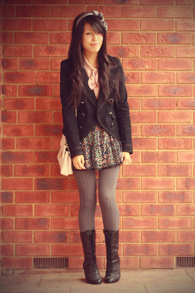 black Valleygirl blazer - vintage shirt - gray columbine tights - JayJays skirt