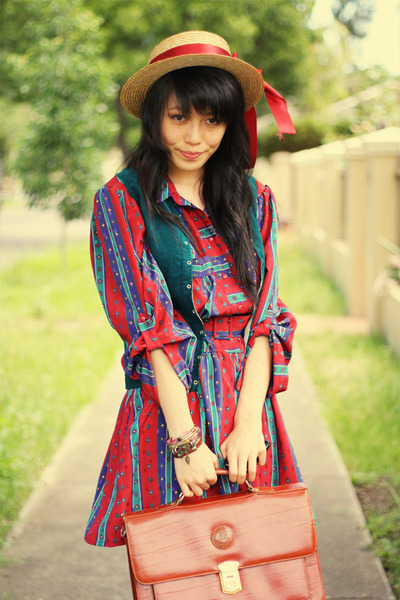 brown vintage bag - crimson vintage boots - red vintage dress