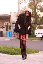 black Ebay tights - OVERSEAS shoes - red vintage dress