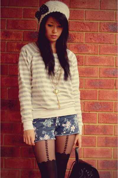black Topshop tights - blue Forever 21 shorts - gray Forever 21 top
