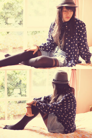 blue Target skirt - gray China hat - black asos tights - blue vintage blouse
