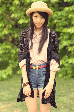 pink vintage blouse - ruby red asos belt - black vintage from milk cardigan