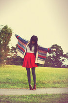 vintage shoes - romwe skirt - romwe cardigan - Forever 21 top