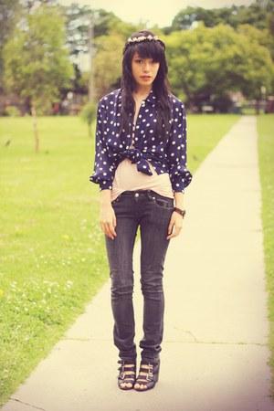 beige kisforkanietsycom accessories - navy vintage blouse - black supre jeans -