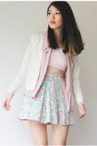 victorias secret pink bra - Topshop skirt - vintage cardigan - vintage blouse