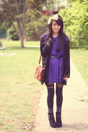 asos tights - Nine West boots - vintage bag - milk vintage cardigan