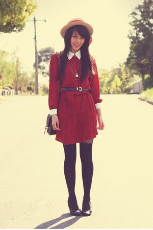 red vintage dress - beige vintage hat - black Topshop tights - vintage bag