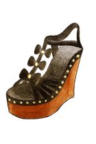 black Leather upper accessories - brown Wooden wedge accessories