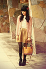 Chicwish-dress-romwe-tights-chicwish-bag-bardot-cardigan-kani-accessorie