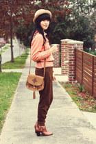 dark brown Chicwish bag - crimson vintage accessories - hot pink breo watch