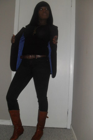 H&M blazer - Steve Madden boots - Gap jeans - Forever 21 shirt - Gap belt