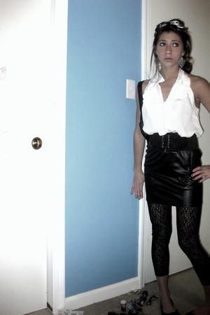 black Forever21 belt - white Forever21 top - black Forever21 skirt - black Targe